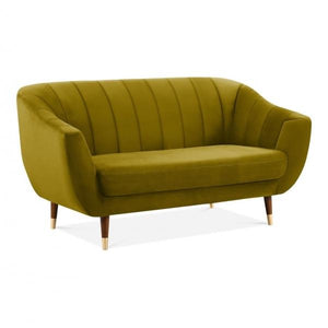 Antique Mustard Gold / Wood Gold Luxe Modern Art Deco Style Scalloped Blue Velvet 2 Seater Sofa - Pebble & Leaf HomeFurniture