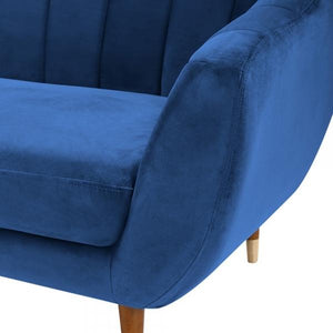 Blue / Wood Gold Luxe Art Deco Shell Curved Grey Velvet 3 Seater Sofa - Pebble & Leaf HomeFurniture