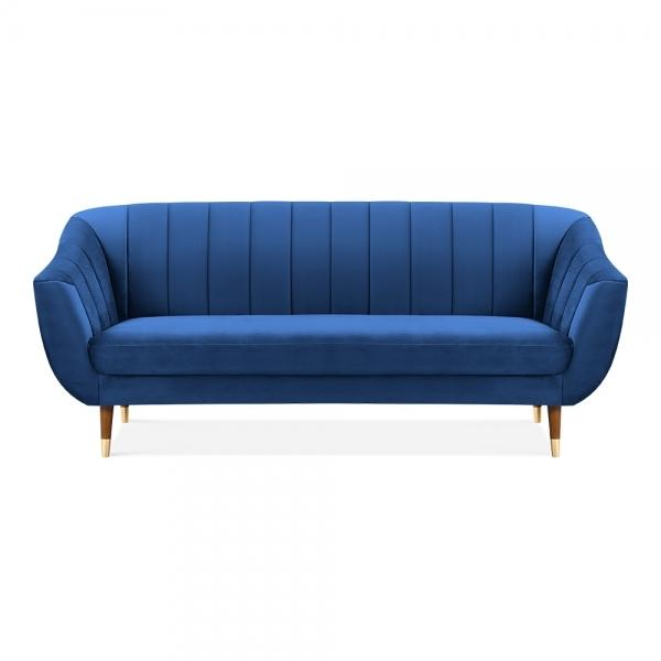 Luxe Art Deco Shell Curved Blue Velvet 3 Seater Sofa - Pebble & Leaf HomeFurniture