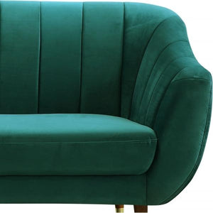 Dark Teal Sea Green / Wood Gold Luxe Art Deco Shell Curved Grey Velvet 3 Seater Sofa - Pebble & Leaf HomeFurniture