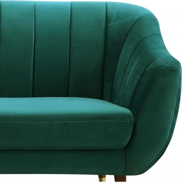 Dark Teal Sea Green / Wood Gold Luxe Art Deco Shell Teal Green Velvet 3 Seater Sofa - Pebble & Leaf HomeFurniture