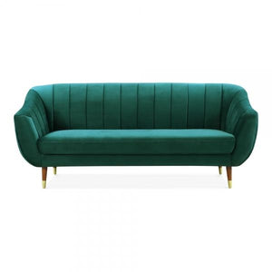 Luxe Art Deco Shell Teal Green Velvet 3 Seater Sofa - Pebble & Leaf HomeFurniture