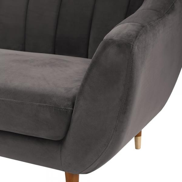 Grey / Wood Gold Luxe Art Deco Shell Curved Grey Velvet 3 Seater Sofa - Pebble & Leaf HomeFurniture