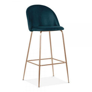 Teal / Copper Teal Luxe Diamond Leather Look Bar Stool 75 cm Copper - Brass - Black Leg - Pebble & Leaf LtdFurniture