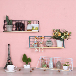 Wooden Iron Grid Storage Shelf Wall Hanging Storage Holders Black / White - Pebble & Leaf Ltd