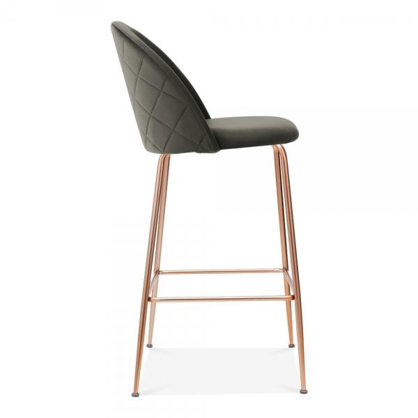 Grey Luxe Diamond Velvet Bar Stool 65cm - 75 cm Gold Brass - Copper - Black Leg - Pebble & Leaf HomeFurniture