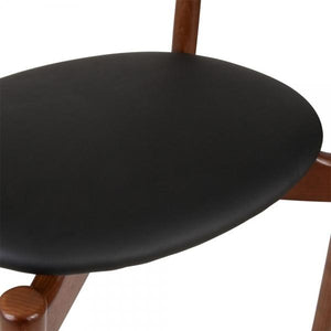 The Danish Hest High Curve Back Dining Desk Chair Faux Leather Seat