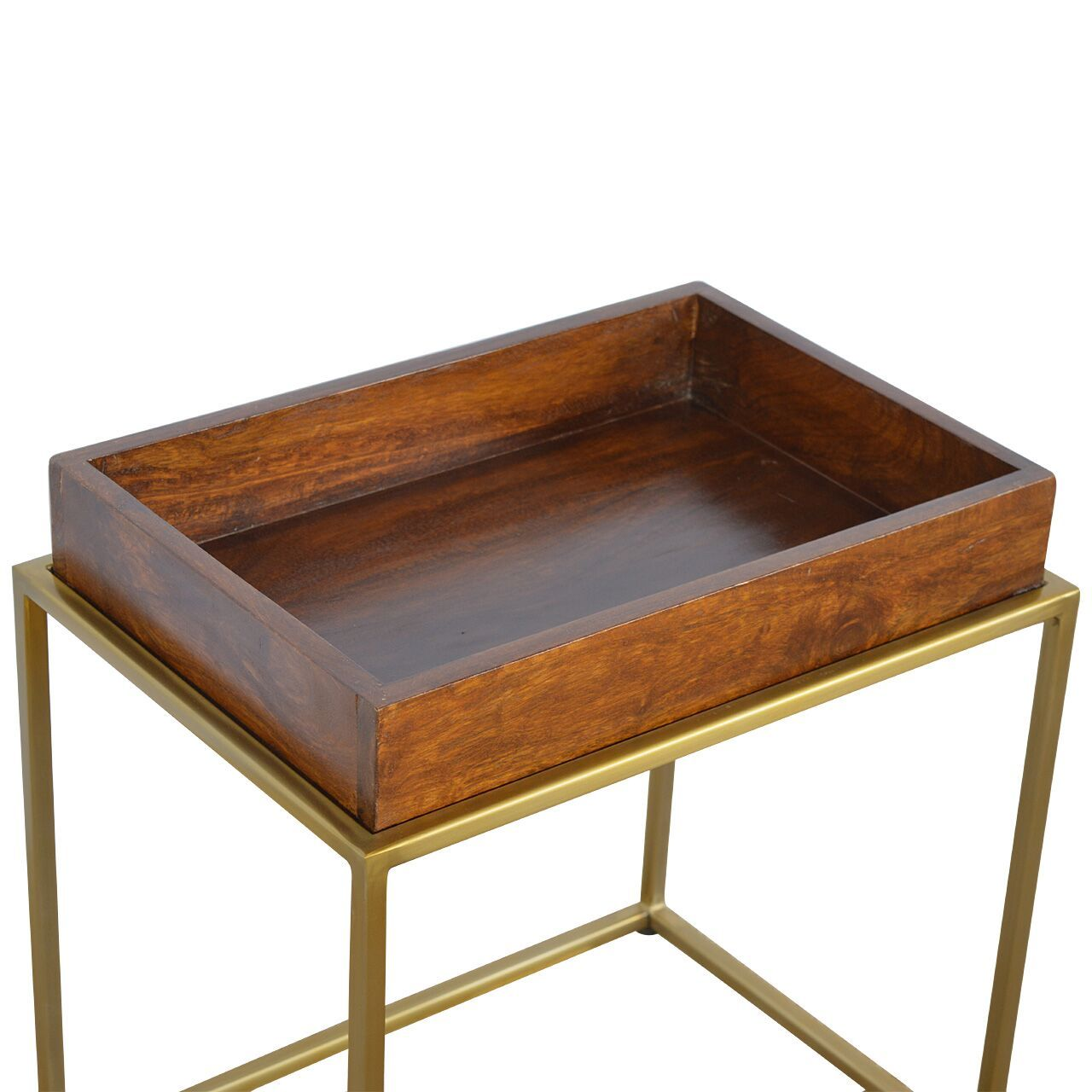 Mango Moon Solid Dark Wood Butler Tray Gold Leg Cocktail Table - Pebble & Leaf HomeFurniture