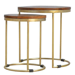 Mango Moon New Nordic Round Side Table Set Gold Leg - Pebble & Leaf HomeFurniture