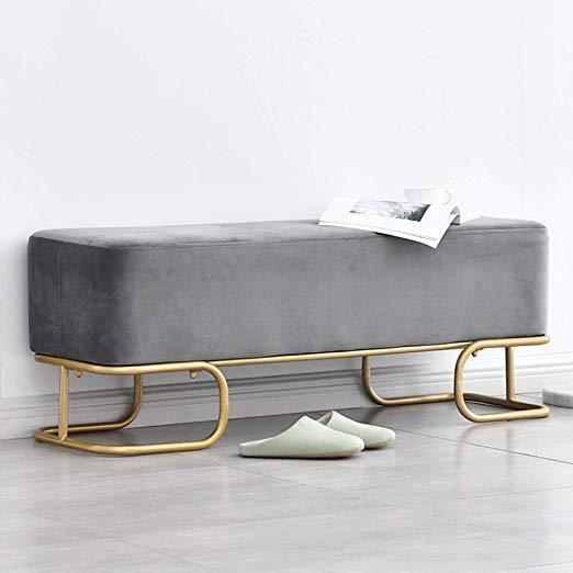 Grey Velvet Luxe Hall Bench / 120cm x 40cm x 42.5cm Dark Blue Luxe Revival Velvet Gold Modern Art Deco Ottoman Hall Bench - Pebble & Leaf HomeFurniture