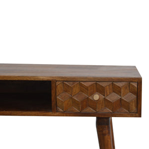 Geo Cube Chestnut Carved Writing Desk Console Table Mango Wood Eco Friendly