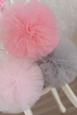 Large Tulle Pom Pom Garland Blush Nude Pink Grey Ivory White FREE OFFER!!!!