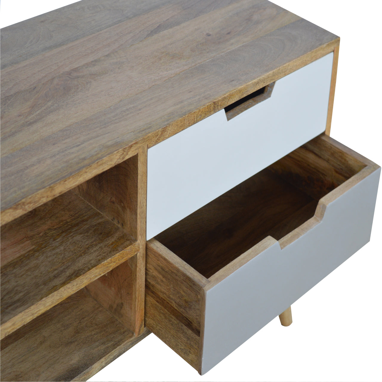 Grey And White Nordic 2 Drawer Media TV Unit Eco Friendly Sustainable Solid Mango Wood
