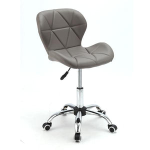 Geo Office Desk Gas Lift Chair Chrome Grey Faux Leather