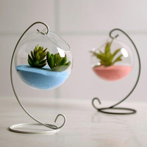 Off Center Glass Hanging Glass Terrarium Candle Holder - Pebble & Leaf HomeVases
