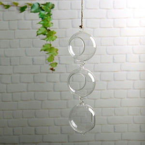 Double Hanging Glass Hanging Glass Terrarium Candle Holder - Pebble & Leaf HomeVases