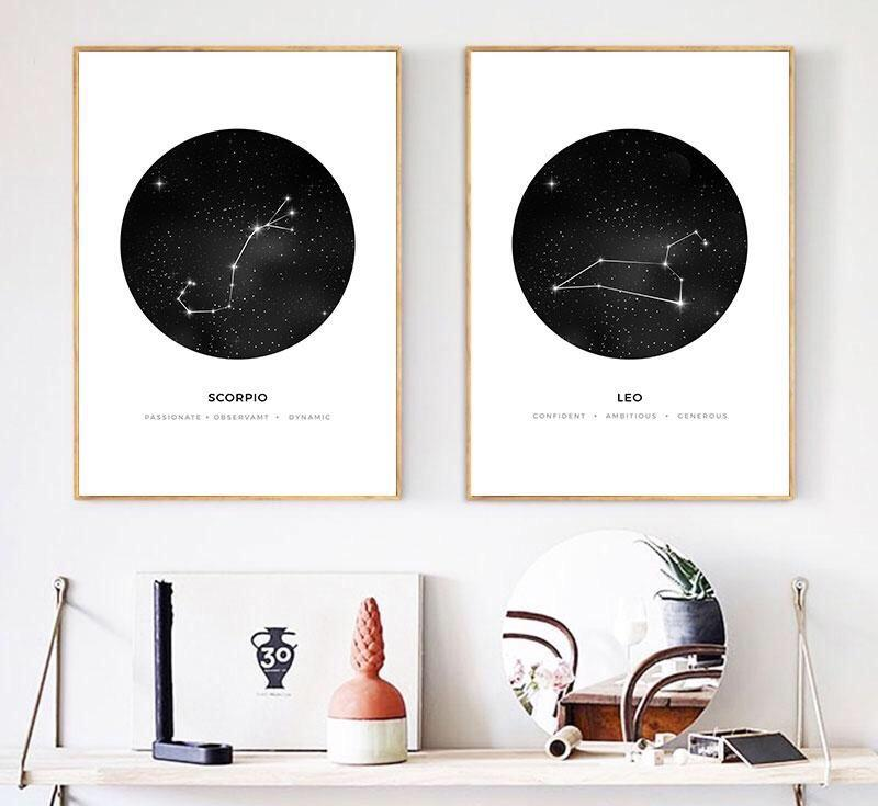 Star Sign Astrology Map Canvas Art - Pebble & Leaf Ltd