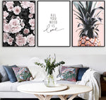 Pink Grey and White Exotic Canvas Wall Art Collection - Pebble & Leaf Ltd