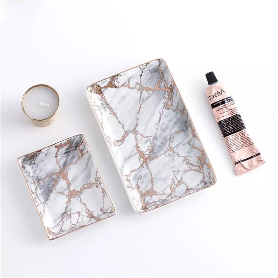 Marble Tray Rose Gold and Grey - Pebble & Leaf HomeTableware