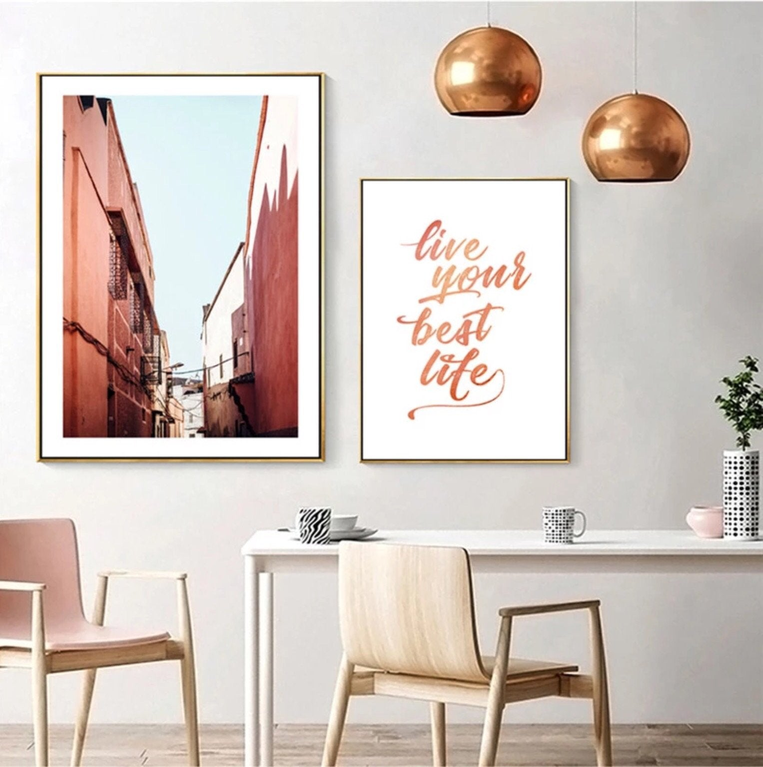 Living Coral Flamingo Beach Best Life Canvas Wall Art Collection - Pebble & Leaf HomeArt