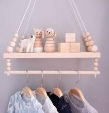 big white bead Hanging Wooden Swing Shelf with Clothes Rail + FREE POM POM OFFER!!!! - Pebble & Leaf HomeStorage