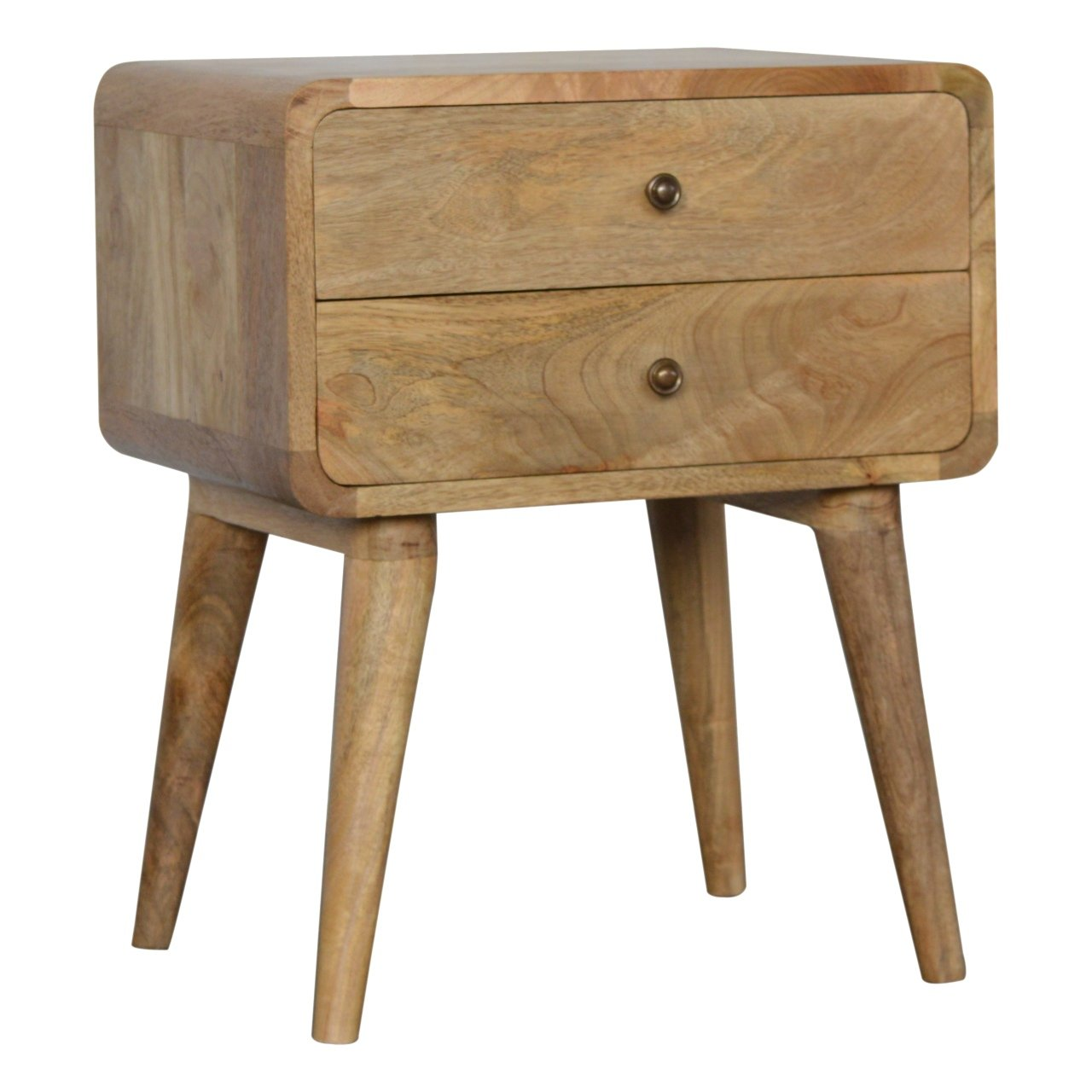 Nordic Curve 2 Drawer Solid Eco Friendly Mango Wood Bedside Table Unit Light Oak Or Dark Chestnut