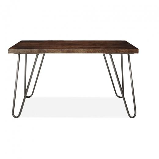 Luxe Melvin Hairpin Leg Gold Brass Dark Walnut Coffee Table 120 cm