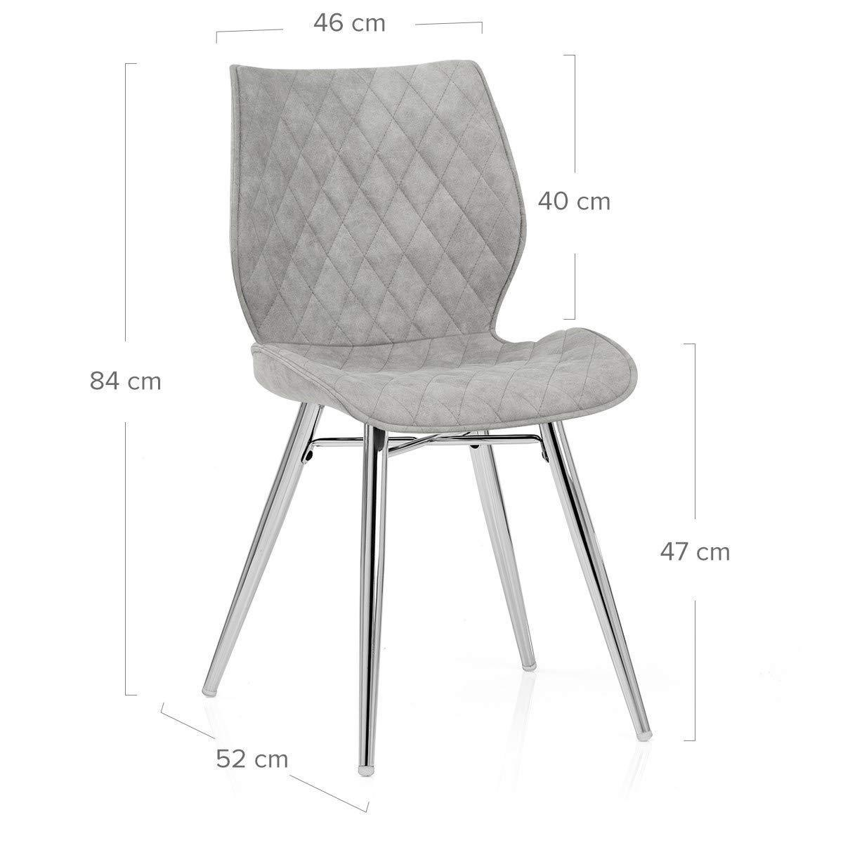 Pale Pearl Grey / Beige Brown Diamond Seam Back Modern Wipe Clean Leather Fabric Dining Chair Silver Chrome Legs - Pebble & Leaf HomeFurniture