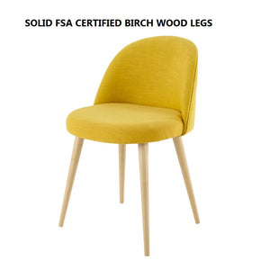 Bright Mustard Gold / Light Solid FSC Birch Wood Legs CURVE SMOOTH BACK FABRIC DINING DESK CHAIR DARK / LIGHT WOOD LEGS - Pebble & Leaf HomeFurniture