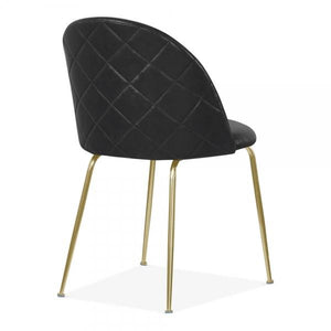 Black Luxe Leather Look Diamond Dining Chair Copper Brass Gold Black Leg