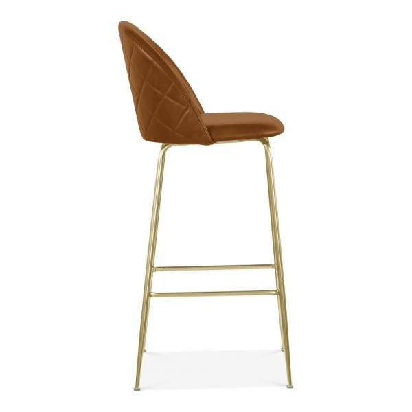 Tan / Brass Luxe Leather Look Diamond Bar Stool 65cm Copper - Black - Brass Leg - Pebble & Leaf HomeFurniture