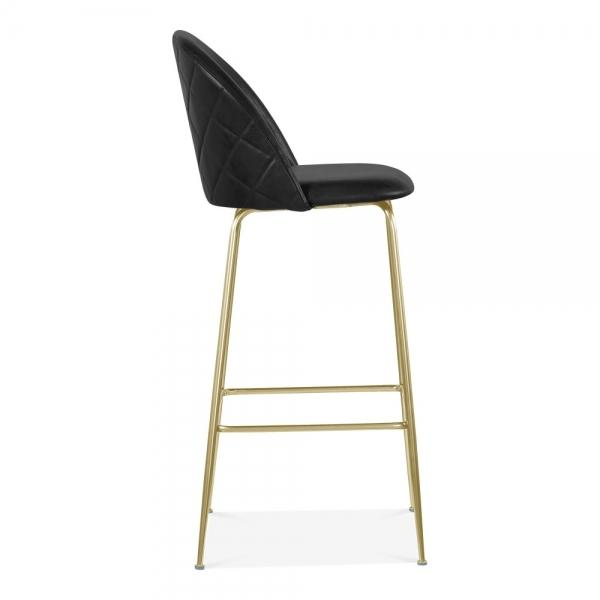 Black / Brass Luxe Leather Look Diamond Bar Stool 65cm Copper - Black - Brass Leg - Pebble & Leaf HomeFurniture