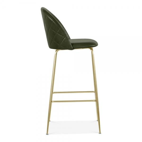 Dark Army Green / Brass Luxe Leather Look Diamond Bar Stool 65cm Copper - Black - Brass Leg - Pebble & Leaf HomeFurniture