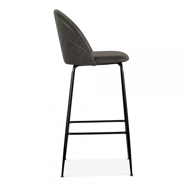 Grey / Black Luxe Leather Look Diamond Bar Stool 65cm Copper - Black - Brass Leg - Pebble & Leaf HomeFurniture