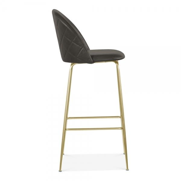 Grey / Brass Luxe Leather Look Diamond Bar Stool 65cm Copper - Black - Brass Leg - Pebble & Leaf HomeFurniture