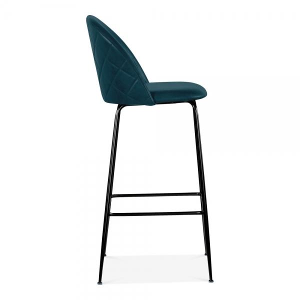Teal Blue / Black Luxe Leather Look Diamond Bar Stool 65cm Copper - Black - Brass Leg - Pebble & Leaf HomeFurniture