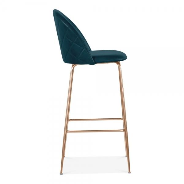 Teal Blue / Copper Luxe Leather Look Diamond Bar Stool 65cm Copper - Black - Brass Leg - Pebble & Leaf HomeFurniture