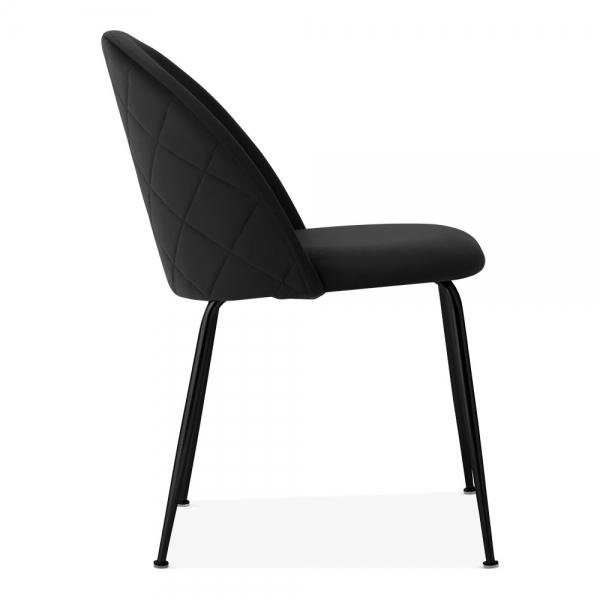 Black / Black Black Luxe Diamond Velvet Dining Chair Copper - Gold Brass - Black Leg - Pebble & Leaf HomeFurniture