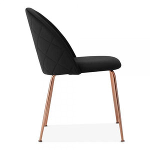 Black / Copper Black Luxe Diamond Velvet Dining Chair Copper - Gold Brass - Black Leg - Pebble & Leaf HomeFurniture