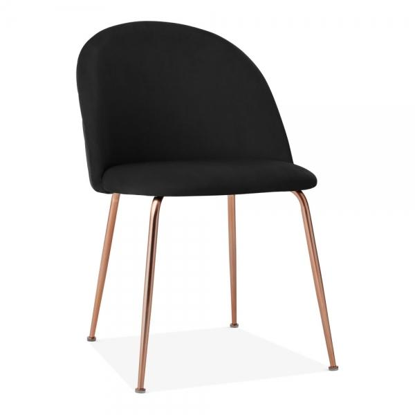 Black / Copper / 46cm Chair Black Luxe Diamond Velvet Bar Stool Chair 65 cm 75 cm Rose Copper Leg - Pebble & Leaf HomeFurniture