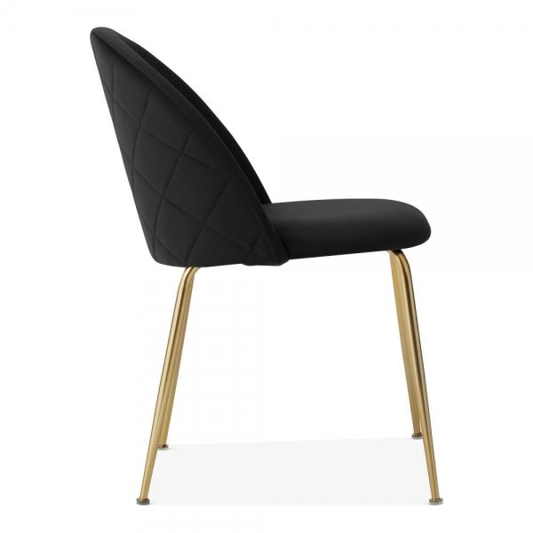 Black / Brass Black Luxe Diamond Velvet Dining Chair Copper - Gold Brass - Black Leg - Pebble & Leaf HomeFurniture