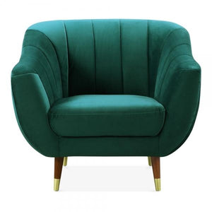 Dark Teal Sea Green / Wood Gold Luxe Modern Art Deco Shell Deep Sea Green Teal Velvet Armchair - Pebble & Leaf HomeFurniture