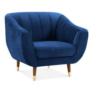 Blue / Wood Gold Luxe Modern Art Deco Shell Deep Sea Green Teal Velvet Armchair - Pebble & Leaf HomeFurniture