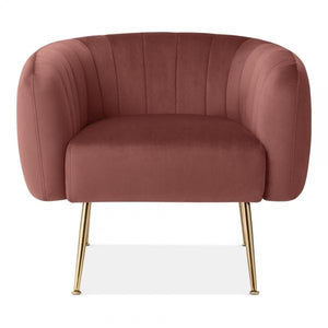 Dark Rose Pink / Gold Grey Luxe Curve Modern Art Deco Style Velvet Armchair - Pebble & Leaf HomeFurniture