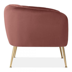 Grey Luxe Curve Modern Art Deco Style Velvet Armchair - Pebble & Leaf HomeFurniture