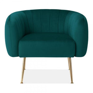 Teal Sea Green / Gold Grey Luxe Curve Modern Art Deco Style Velvet Armchair - Pebble & Leaf HomeFurniture