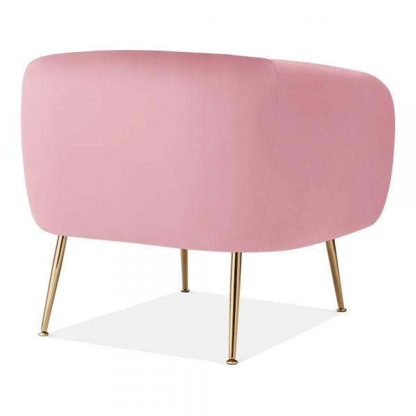 Powder Pink Luxe Curve Modern Art Deco Style Velvet Armchair - Pebble & Leaf HomeFurniture