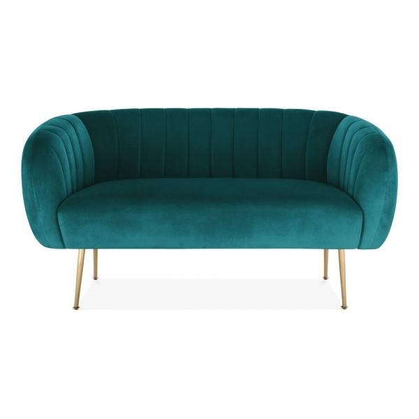 Teal / Gold Blue Luxe Curve Modern Art Deco Style Velvet 2 Seater Sofa + Free Offer! - Pebble & Leaf HomeFurniture
