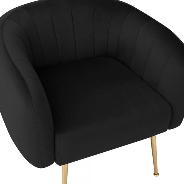 Black Luxe Curve Modern Art Deco Style Velvet Armchair - Pebble & Leaf HomeFurniture