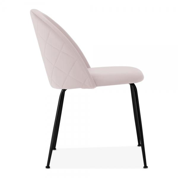 Pale Powder Blush Pink / Black / Dining Chair 46cm Pale Powder Blush Pink Luxe Diamond Velvet Dining Chair Gold Brass Metal Leg - Pebble & Leaf HomeFurniture
